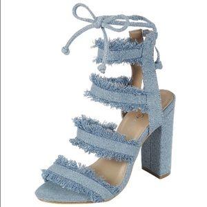 Shoes - Ripped Light Denim Block Heel
